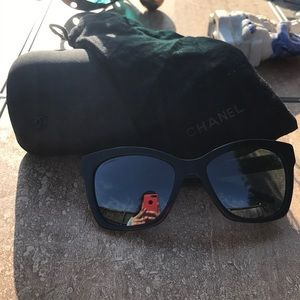 Chanel Authentic Black Mirrored Sunglasses